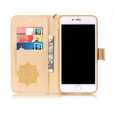 iPhone 6S Plus / 6 Plus Traumfänger Leder Etui Glitzer Tasche Hülle GOLD – Bild 3