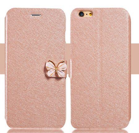 iPhone 7 Leder Flip Etui Tasche Glitzer Hülle Stoff Look Schleife Case PINK / ROSA – Bild 3