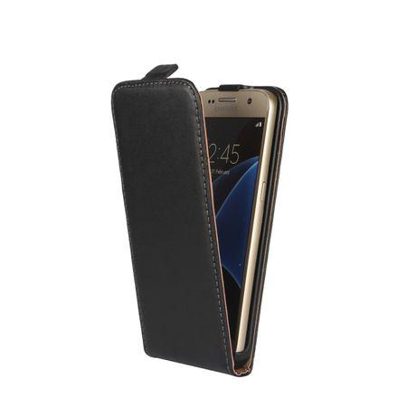 Galaxy S7 Edge Leder Flip Case Cover Etui Tasche Vertikal Hülle SCHWARZ – Bild 2