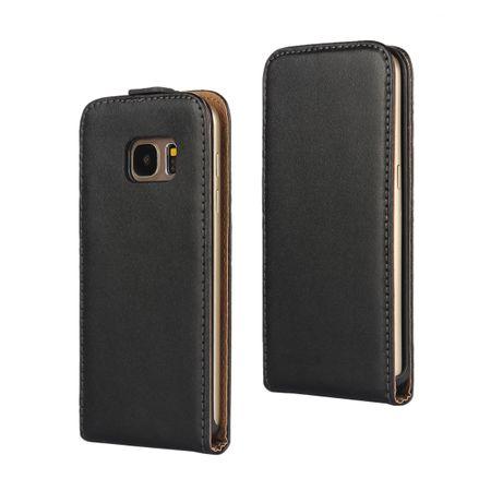 Galaxy S7 Edge Leder Flip Case Cover Etui Tasche Vertikal Hülle SCHWARZ – Bild 1