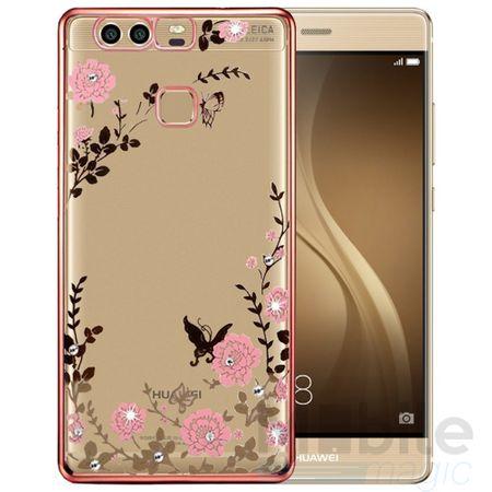 Huawei P10 Edles Glitzer Blumen Gummi TPU Silikon Case PINK – Bild 2