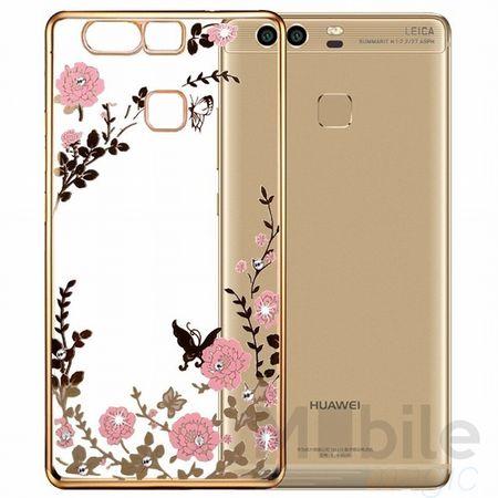 Huawei P10 Glitzer Hülle Blumen Gummi TPU Silikon Case GOLD – Bild 1