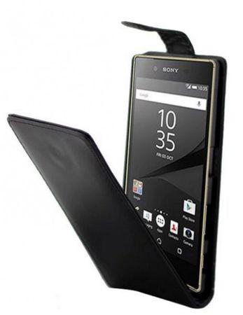 Sony Xperia Z5 PREMIUM Leder Case Flip Etui SCHWARZ – Bild 1