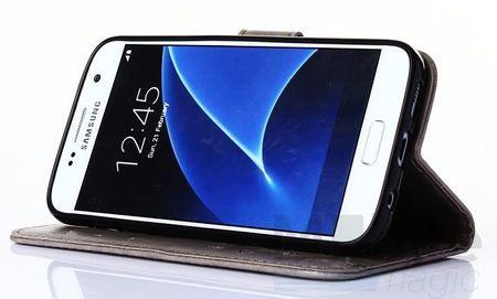Samsung Galaxy A3 2017 Leder Etui Blume Schmetterling Hülle Flip Case Cover GRAU – Bild 4