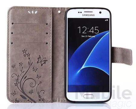 Samsung Galaxy A5 2017 Leder Etui Blume Schmetterling Hülle Flip Case Cover GRAU – Bild 3