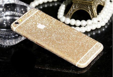 "iPhone 6S / 6 Full-Body Glitzer Sticker Skin in CHAMPAGNE 4.7"" – Bild 2"
