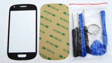 Samsung Galaxy S3 mini Ersatz Frontglas SCHWARZ inklusive Werkzeug und Kleber