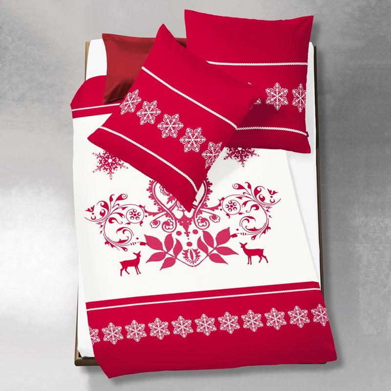 biberbettw sche fleuresse aspen rot ornament sterne bettw sche twill biber bettw sche. Black Bedroom Furniture Sets. Home Design Ideas