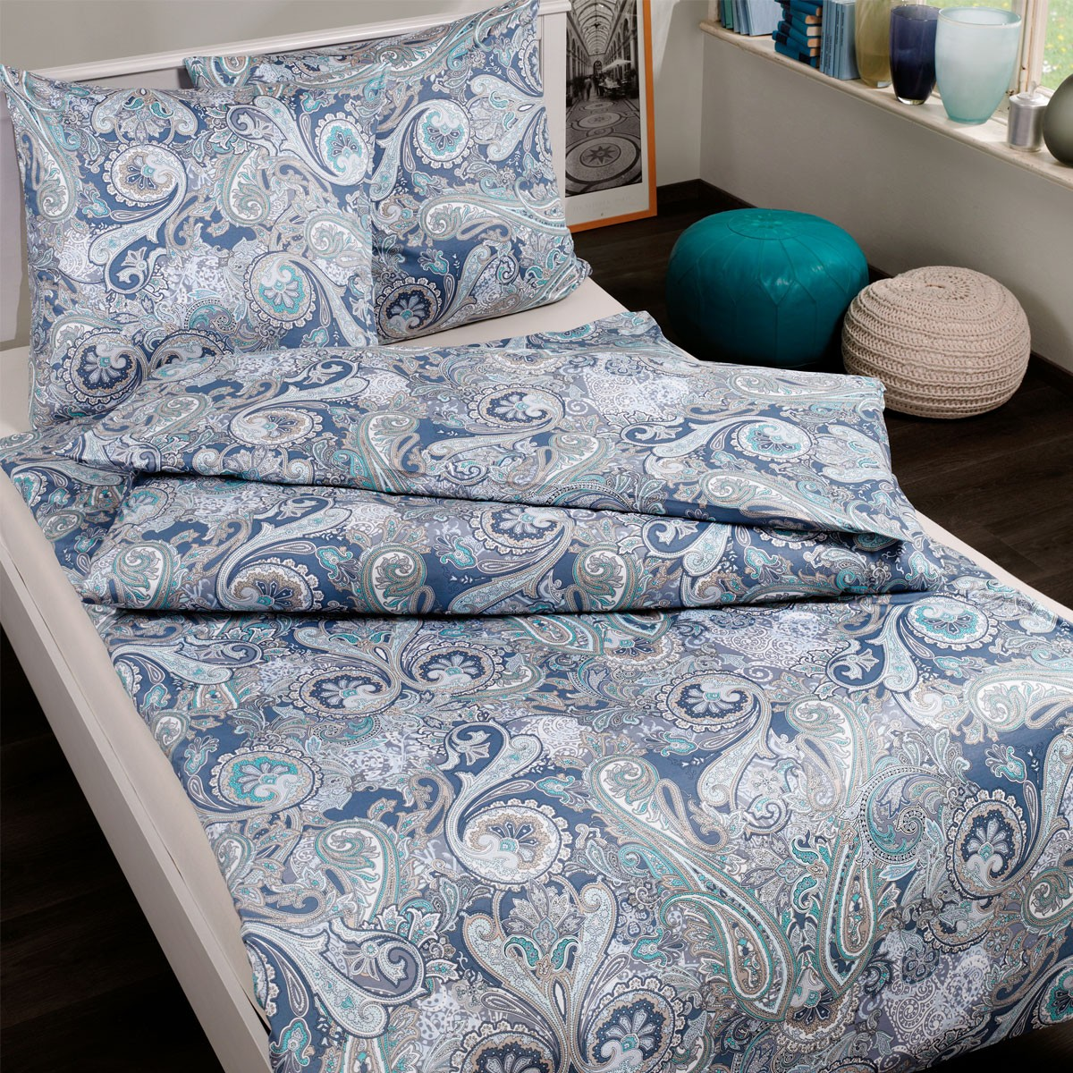 interlock jersey bettw sche estella elarda blaue jerseybettw sche mit paisley ebay. Black Bedroom Furniture Sets. Home Design Ideas