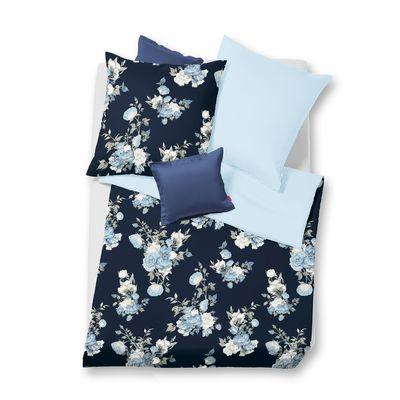Mako-Satin Wendebettwäsche fleuresse Modern Garden pastellblau