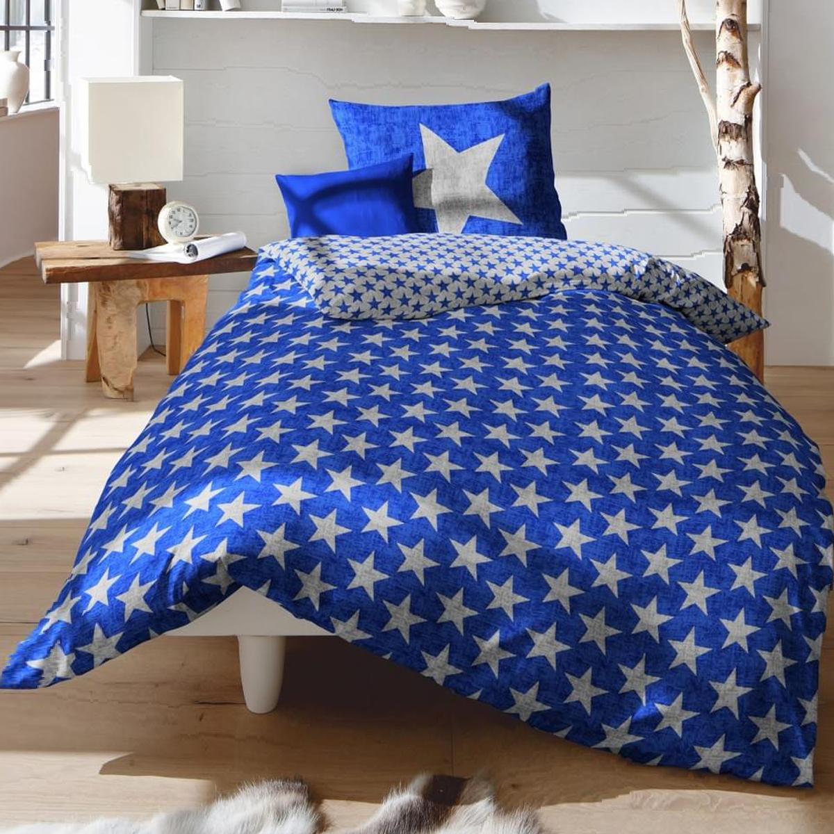fleuresse biber wendebettw sche davos blau sterne mit rei verschluss ebay. Black Bedroom Furniture Sets. Home Design Ideas