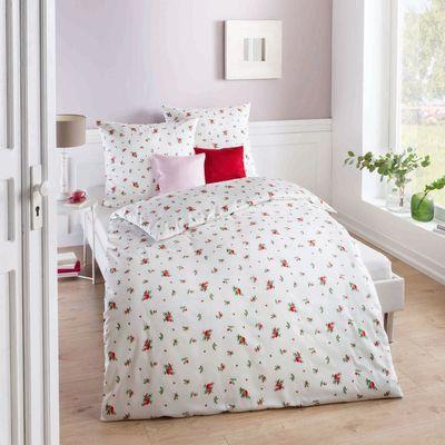 Satin Bettwäsche kaeppel Windröschen rot mit Streublümchen