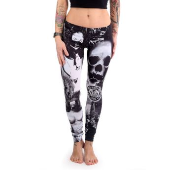 Yakuza Damen Leggings Lost City LEB 442 schwarz weiß