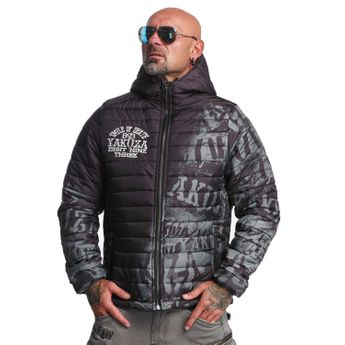 Yakuza Steppjacke Herren Allover Label Quilted JB 10040 dunkelgrün