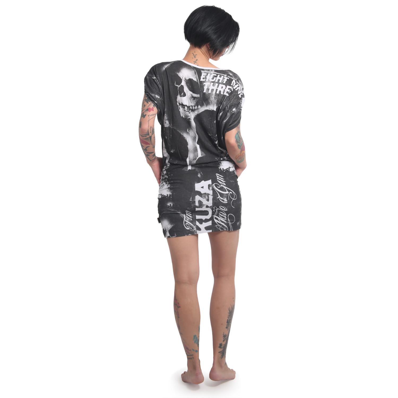 Damen Kleid 10124 Weiß Skull Dress Yakuza Dawn Gkb Skater eYWED9IH2