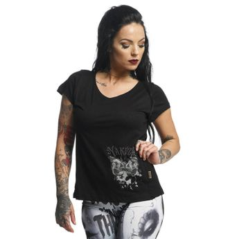 Yakuza T-Shirt Damen Basic Line Long Tail Crew Neck GSB 10149 schwarz