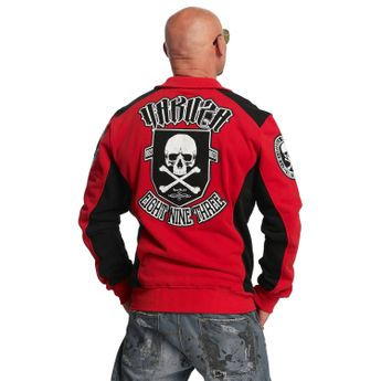 Yakuza Sweatjacke Herren Cross Bones Zipper ZB 11022 ribbon red