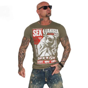 Yakuza Herren T-Shirt Suck N Fxck TSB 11047 grape leaf oliv