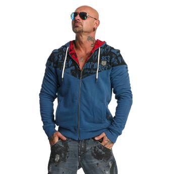 Yakuza Kapuzenjacke Herren Allover Label Zip Hoodie HZB 11011 mallard blue