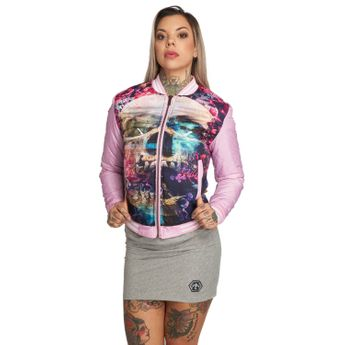 Yakuza Baseball-Jacke Damen Flowers Of Death GJB 12132 orchid pink