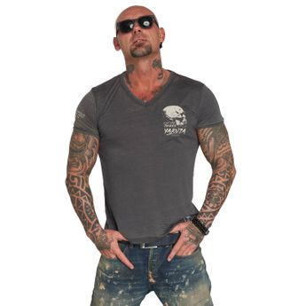 Yakuza T-Shirt Herren Burnout V-Neck TSB 12059 ebony