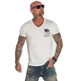 Yakuza T-Shirt Herren Burnout V-Neck snow white