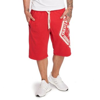 Yakuza Jogger Shorts Herren Skull Label V02 SSB 12046 ribbon red