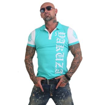 Yakuza Polo-Shirt Herren 893 Two Face TPO 12025 turquoise