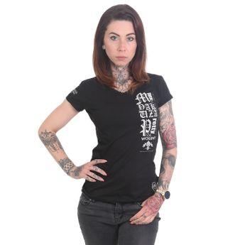 Yakuza T-Shirt Damen Cross V-Neck GSB 12113 schwarz