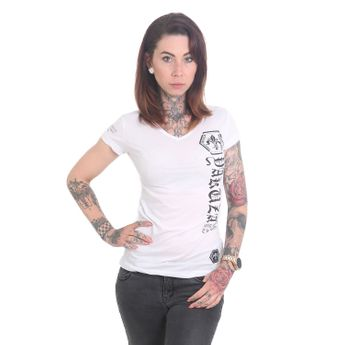 Yakuza T-Shirt Damen Cross V-Neck weiß