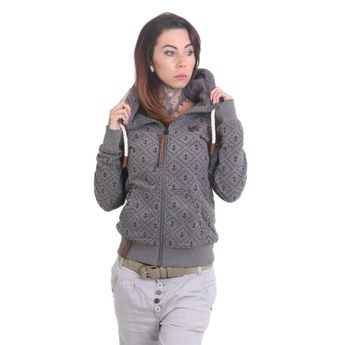 naketano Damen Zip Hoodie Jennifer Hart Dark Grey Melange