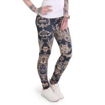 Yakuza Leggings Damen Floral V02 mood indigo LEB 12141