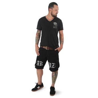 Yakuza Cargo Shorts Herren Skull Label CSB 12045 schwarz online kaufen