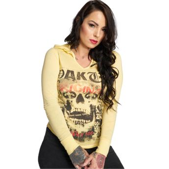 Yakuza Damen Longsleeve Skull Hooded Shirt GLSB 12121 pale banana