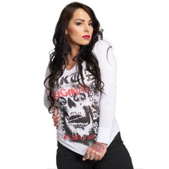 Yakuza Damen Longsleeve Skull Hooded Shirt GLSB 12121 weiß