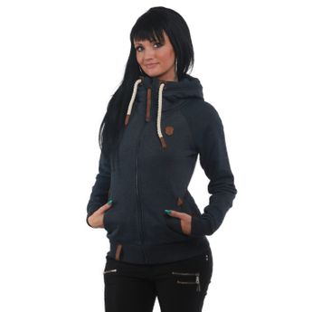 naketano Damen Zip Hoodie Blonder Engel Indigo Blue Melange
