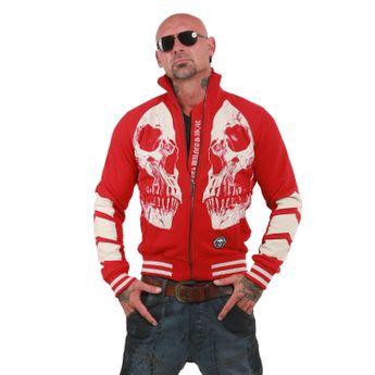 Yakuza Herren Sweatjacke Skull V2 Zipper ZB 12041 ribbon red