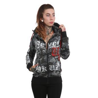 Yakuza Damen Kapuzenjacke Diamond Skull High Neck GHZB 12127 camouflage grey