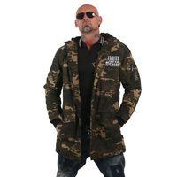 Yakuza Herren Winterjacke Flag Teddy Parka JB 12064 Camouflage grün 001