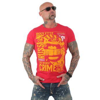 Yakuza Herren T-Shirt Russian Roulette TSB 13039 ribbon red rot