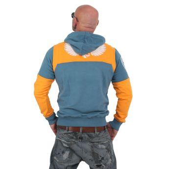 Yakuza Herren Label Two Face Hoodie HOB 13002 mallard blue blau online kaufen