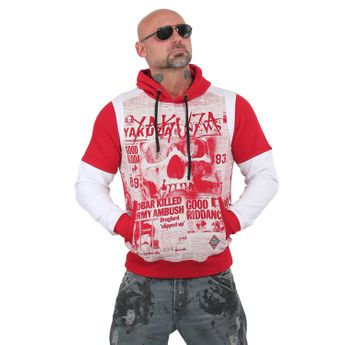 Yakuza Herren Escobar Two Face Hoodie HOB 13004 ribbon red rot