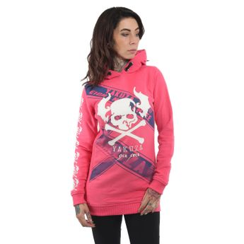 Yakuza Damen Flying Skull Flex Long Hoodie GLHOB 13107 camellia rose