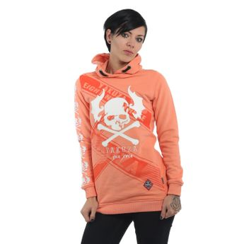 Yakuza Damen Flying Skull Flex Long Hoodie GLHOB 13107 papaya punch