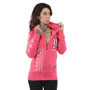 Yakuza Damen Lil Flying Skull High Neck Zipper GHZB 13118 camellia rose