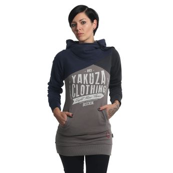 Yakuza Damen Tri Face Cross Neck Long Hoodie mood indigo blau