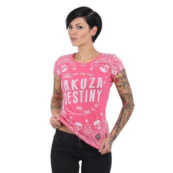 Yakuza Damen T-Shirt Tijuana V-Neck GSB 13123 camellia rose rosa