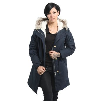 Elvine Damen Wintermantel Parka Jacke Fishtail navy blau