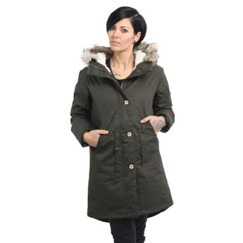 Elvine Damen Wintermantel Parka Jacke Fishtail Army Green oliv