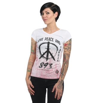 Yakuza Damen T-Shirt Love & Peace V-Neck weiß